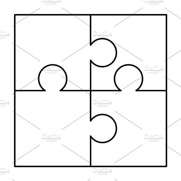 4 puzzle pieces template four puzzle pieces connected free.