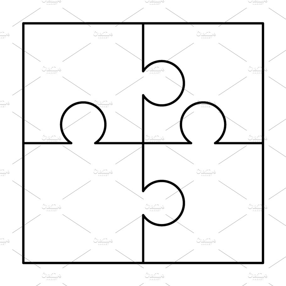 4 white puzzles pieces template graphic objects creative market