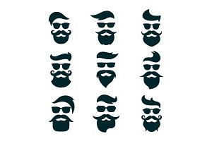 Monochrome hipsters faces set with