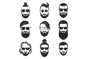 Set of 9 hipsters bearded men with