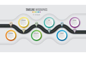 Navigation map infographic 6 steps
