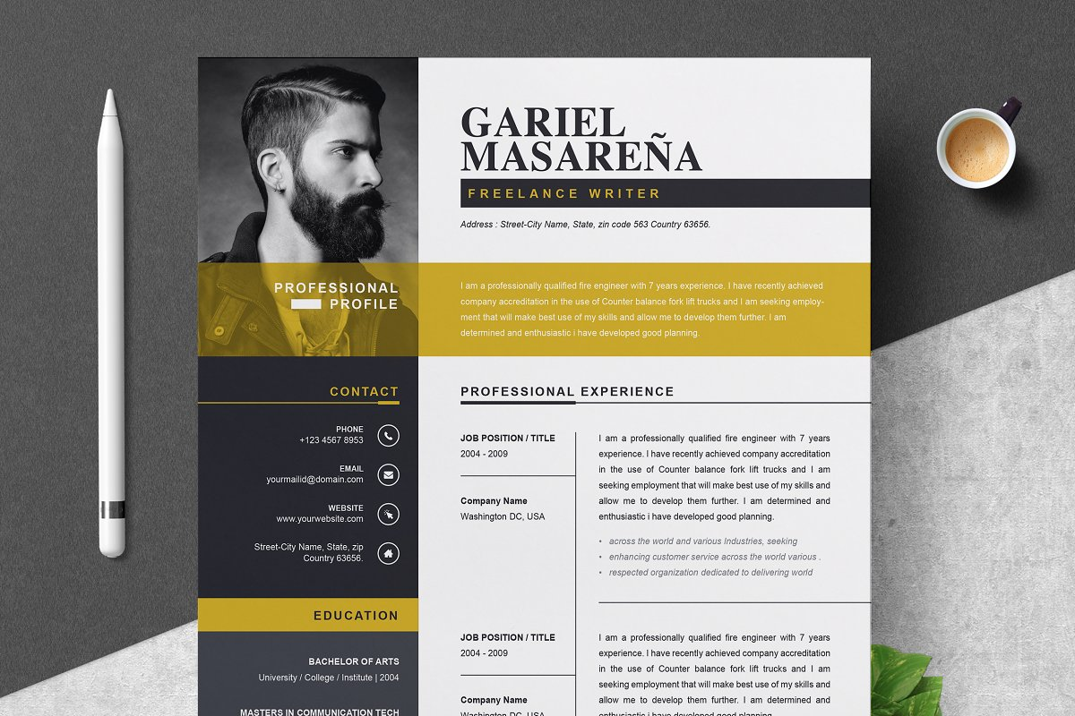 Professional Word Resume Cv Template Cover Letter