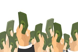 Hands holds a bunch of banknotes