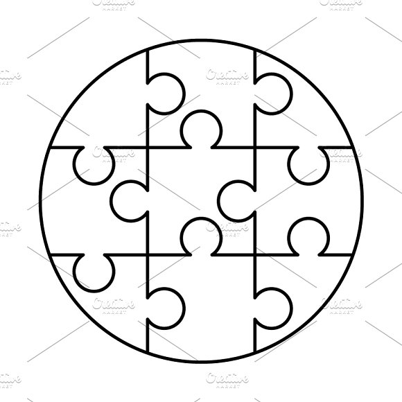 9 white puzzles pieces template graphic objects creative market