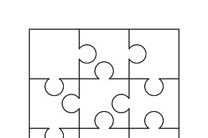 Simple 9 white puzzles pieces