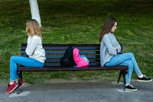 Two girls schoolgirl quarreled in