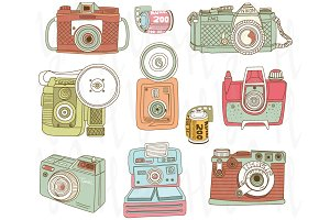 Hand Draw Vintage Camera Collections