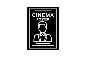 Movie poster glyph icon