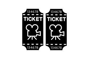 Cinema tickets glyph icon
