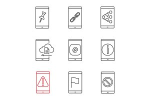 Smartphone linear icons set