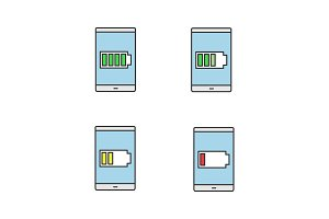 Smartphone battery color icons set