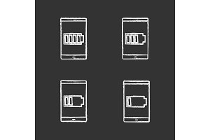 Smartphone battery chalk icons set