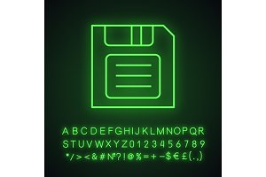 Save button neon light icon