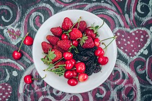 Strawberries, mulberries and cherrie