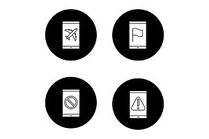 Smartphone apps glyph icons set