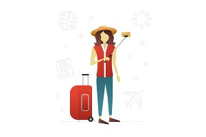 Traveler flat character design