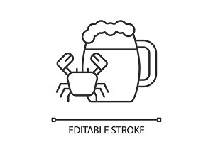 Beer mug with crab linear icon