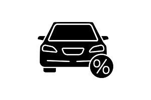 Auto loan glyph icon