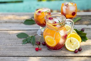 Homemade refreshing wine sangria or
