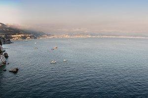 Amalfi Coast and boats sailing in th