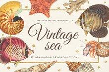 Vintage sea - nautical design set
