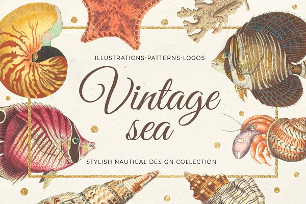 Vintage sea - nautical design set