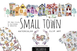 Small town. Watercolor clip art set.