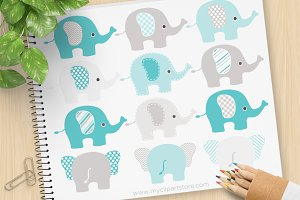 Blue and Grey Elephants Clipart, SVG