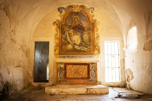 Ancient altar with fresco