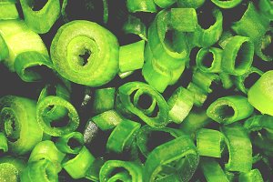 Sliced rings green onion pieces