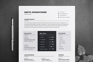 One Page Resume / CV Design Template