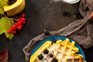 Breakfast table with pumpkin waffles