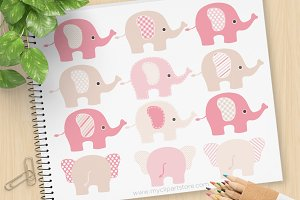 Pink Elephants Clipart, SVG