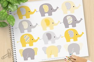 Yellow and Grey Elephants Clipart