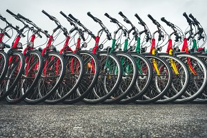 Bicycles standing in a row