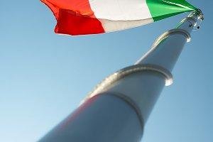 The Italian flag in blue sky
