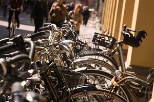 Bicycles parked in the center of Bol