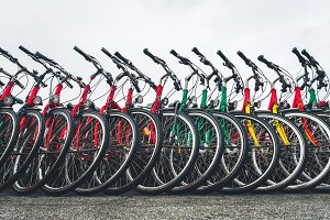 Bikes standing in a row