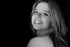 Black and white Portrait of smiling