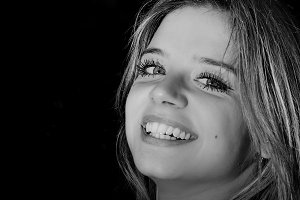 Black and white Close up of smiling
