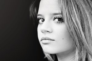 Black and white portrait of a beauti
