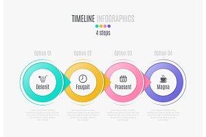 Four steps infographic timeline