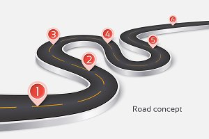 Winding 3d road infographic concept