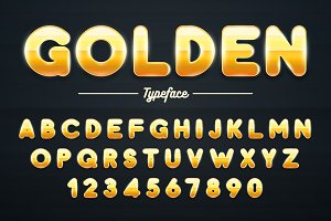 Golden shining font, gold letters