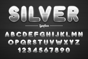 Silver shining font, letters and