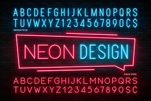 Neon light alphabet, realistic extra
