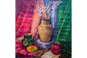 Still-life drawing watercolor. Vase