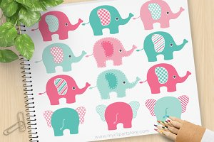 Pink and Blue Elephants Clipart, SVG