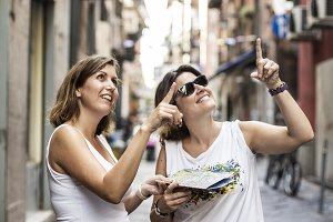 Two women sightseeing