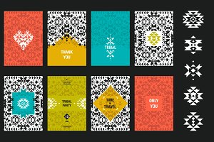 8 Geometric cards+patterns